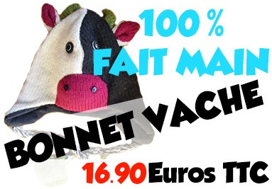 Le bonnet vache en tricot et 100% Réalisé à la main!
